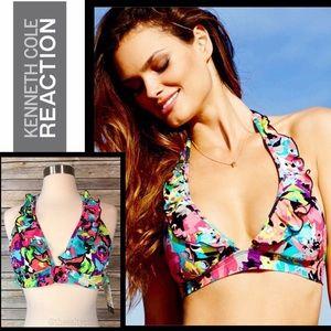 NWT Kenneth Cole Floral Ruffle Bikini, Sz Med
